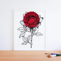 Minimalist Romantic Red Rose Flower Illustration Fine Art Print