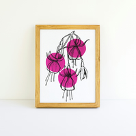 Minimalist Bright Pink Fuchsia Flower Illustration Fine Art Print