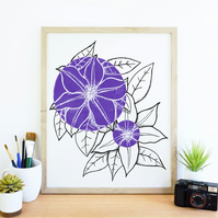 Minimalist Purple Clematis Flower Illustration Fine Art Print