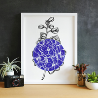 Minimalist Dark Blue Delphinium Flower Illustration Fine Art Print