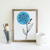 Minimalist Light Blue Forget Me Not Flower Illustration Fine Art Print