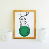 Minimalist Dark Green Pitcher Plant Illustration Fine Art Print