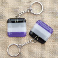 Asexual Ace Pride Fused Glass Keyring Keychain LGBTQ