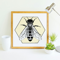 Honey Bee Art Illustration Giclee Print