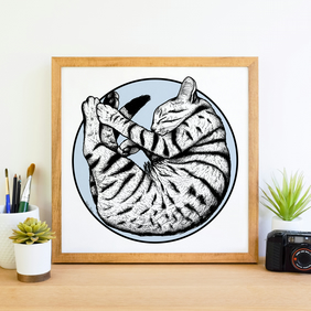 Cute Sleeping Tabby Cat Ink Illustration Giclee Art Print
