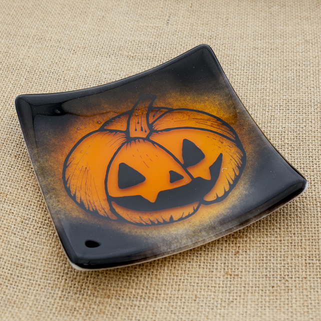 Halloween Trick or Treat Pumpkin Sweet Fused Glass Dish Candy Plate