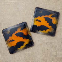 Halloween Bat Fused Glass Drinks Coaster Halloween Bats Orange and Black Coaster