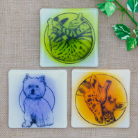 Illustrated Animal Fused Glass Coasters Cat Coaster Giraffe Coaster Dog Coaster