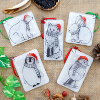 Illustrated Animal Christmas Decorations Fox Rabbit Robin Penguin Polar Bear