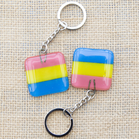 Pansexual Pride Fused Glass Keyring Keychain LGBTQ