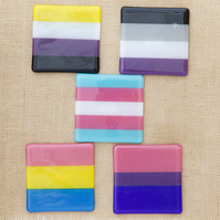 LGBTQ Glass Coasters Bisexual Transgender Non-Binary Flag Coasters