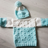 Bobble jumper and matching hat