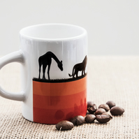African Safari Animals Espresso Coffee Mug - Giraffe, Lion, Oryx and Elephants