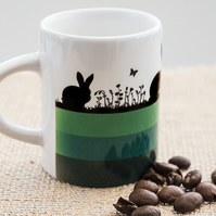 Green Hares and Rabbits Espresso Coffee Mug for Nature and Countryside Lovers