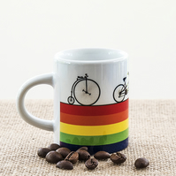 Rainbow Bicycle Espresso Coffee Mug Penny Farthing Tandem Road Bike LGBT LGBTQ