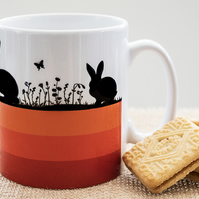 Orange Hares and Rabbits Coffee Mug for Nature and Countryside Lovers