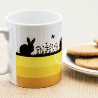 Yellow Hares and Rabbits Coffee Mug for Nature and Countryside Lovers