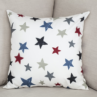 "Stars Cushion Cover 18"" inch ivory background red blue and grey Xmas Christmas"