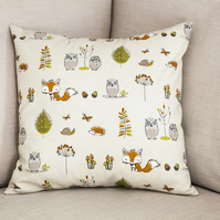 "Woodland Creatures Cushion Cover 18"" inch Foxes Owls Hedgehogs Animals"