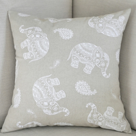 "Elephant Cushion Cover 18"" inch Indian Block Print Style Design Heart Buttons"