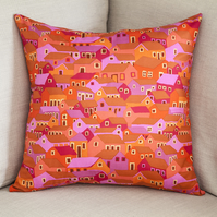 "Colourful Houses Cushion Cover 18"" inch house warming gift orange pink purple"