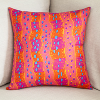 "Colourful Striped Cushion Cover 18"" inch orange pink purple abstract stripes"