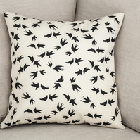 "Swallows Swifts Cushion Cover 18"" inch neutral beige black silhouettes birds"