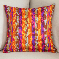 "Colourful Striped Camouflage Cushion Cover 18"" inch orange red pink stripes army"