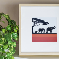 Elephant Family Framed Print Graphic Modern Abstract Picture Wall Art Picture