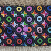 Padded Pouch Retro Vinyl Records fabric for Mobile Make-Up Credit Card Tissues