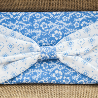 Padded Pouch with Bow in Blue for Mobile Make-Up Credit Card Tissues