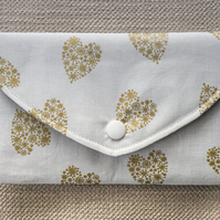 Padded Pouch White with Gold Hearts for Mobile Phone Make-Up Credit Card Tissues