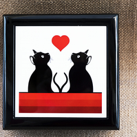Graphic Cats and Red Heart Jewellery or Keepsake Box - Gift for Cat Lover