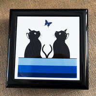 Graphic Cats and Blue Butterfly Jewellery or Keepsake Box - Gift for Cat Lover