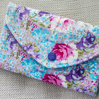 Padded Pouch Floral Flowery Fabric for Mobile Phone Make-Up Credit Cards Tissues