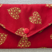 Padded Pouch Red with Gold Hearts for Mobile Phone Make-Up Credit Cards Tissues