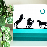 Horses Blank Greetings Card 6 inch square wild galloping prancing stallions