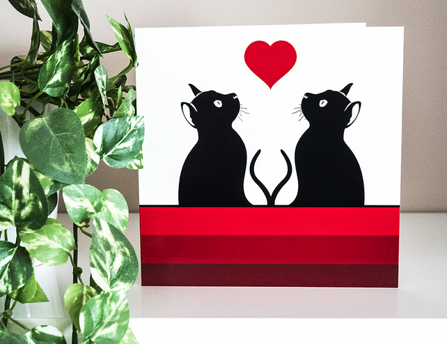 Graphic Cat And Heart Blank Greetings Card Love Cats Illustration 6 Inch Square