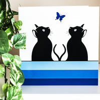 Graphic Cat and Butterfly Blank Greetings Card Cats Illustration 6 inch square