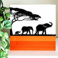 Graphic Elephant Family Blank Greetings Card Illustration 6 inch square