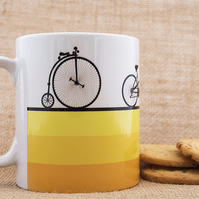 Cyclist Bicycle Coffee Mug Gift for Cycling Fan Penny Farthing Tandem Road Bike
