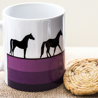 Purple Horse Coffee Mug for Horse Riders and Lovers with Thoroughbred Stallion