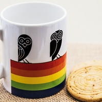 Rainbow Owl Coffee Mug in Aztec style design for Insomniacs Nightowls and LGBTQ