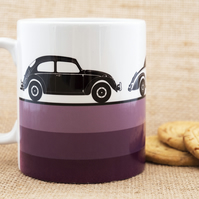 Purple Vintage Retro Cars Coffee Mug for Car Fans.