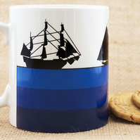 Tall Sailing Ships Blue Coffee Mug for Sailors, Seamen and lovers of the Sea.