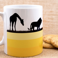 African Safari Wild Animals Coffee Mug with Giraffes, Lions, Oryx and Elephants