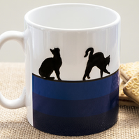 Blue Cat Lovers Coffee Mug Kittens Pussies Kitty Pet Animal Lover Pets Animals