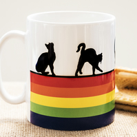 Rainbow Cat Lovers Coffee Mug Kittens Pussies Kitty Pet Animal Lover LGBT LGBTQ