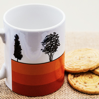 Trees Silhouette Coffee Mug Gift for Nature Countryside Tree Lover Hugger Woods