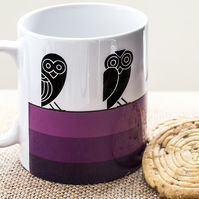 Purple Owl Coffee Mug in Aztec style design - gift for Insomniacs and Nightowls